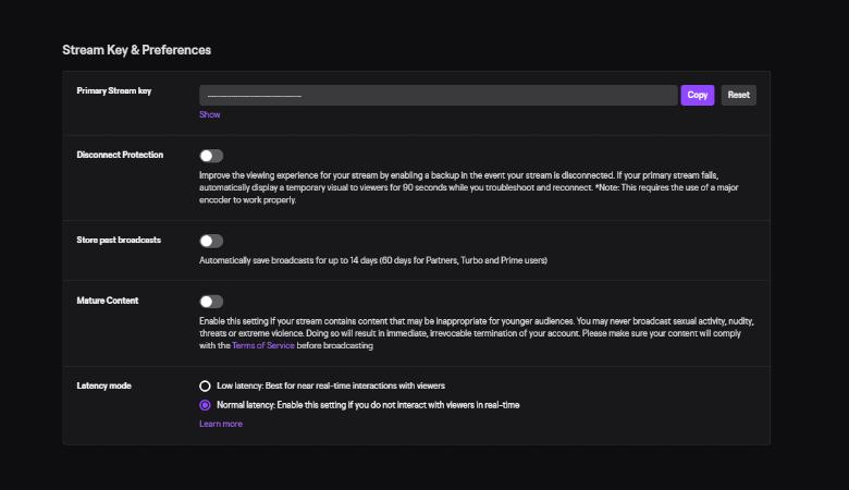 Screenshot of Twitch.tv Dashboard