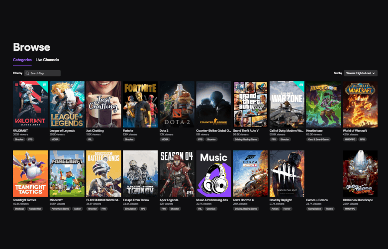 A screenshot of the Twitch.tv homepage