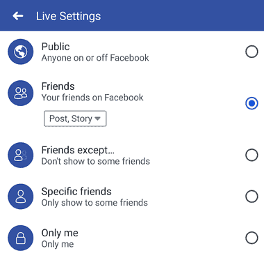 Screenshot of facebook live privacy settings
