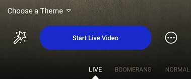 Screenshot of facebook live start live video button