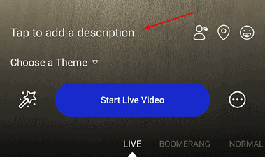 Screenshot of facebook live adding a description