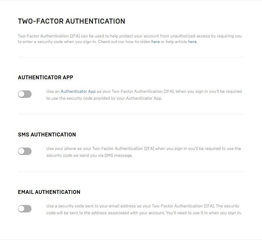 Fortnite 2FA Authentication Setting