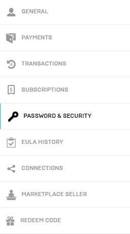 Fortnite 2FA Password & Security Tab