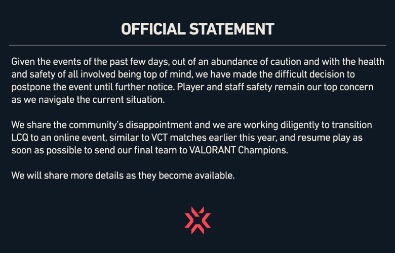 RIOT NA VCT Last Chance Qualifier Postponed Till Further Notice
